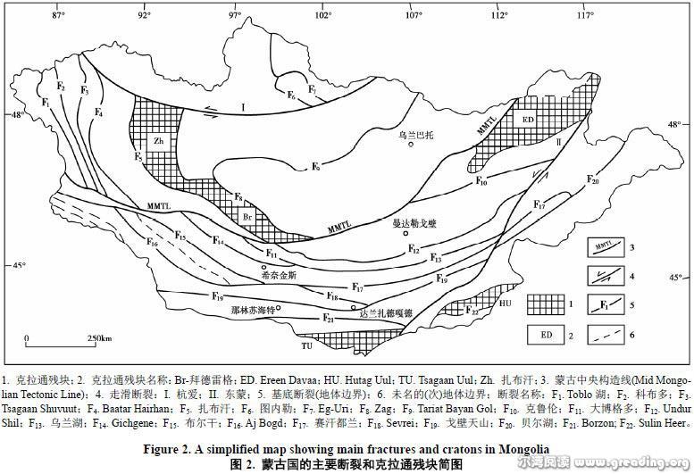 蒙古国的主要断裂和克拉通残块简图